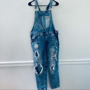 Zara distressed ripped overalls blue size S